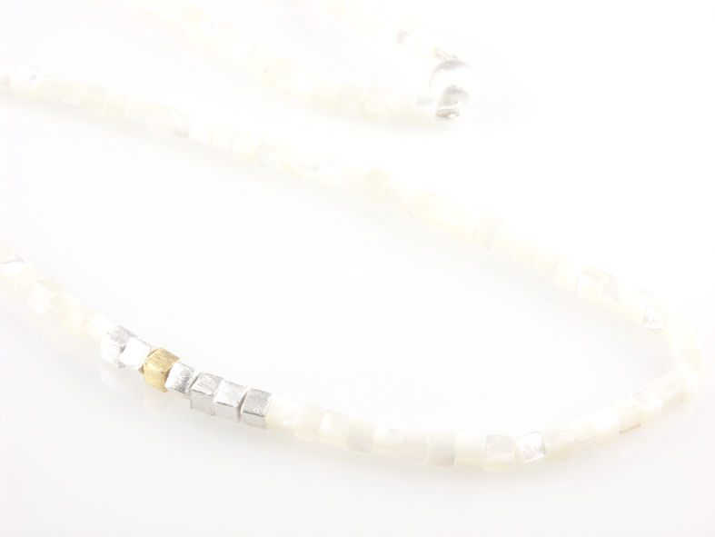 'Pearl Wonder' - silver necklace with square mother of pearls and square silver bead - product images  of