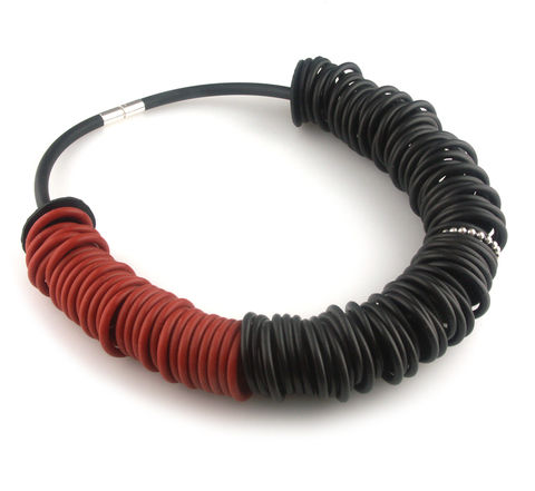 Black,and,red,rubber,necklace,with,one,silver,ring,rubber jewellery, silver jewellery, contemporary jewellery, necklace, rubber ring