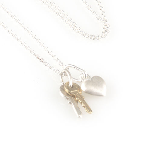 'Key,to,your,heart',-,small,silver,keys,with,heart,necklace,silver jewellery, contemporary jewellery, necklace, pendant, key necklace, key and heart
