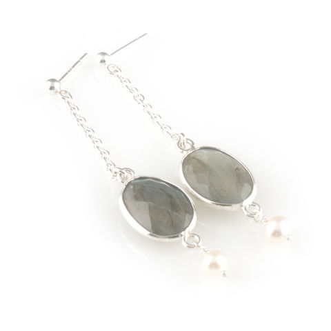 'Pearl,Wonder',-,labradorite,with,pearl,earrings,silver jewellery, contemporary jewellery, fresh water pearl earrings, labradorite earrings, labradorite