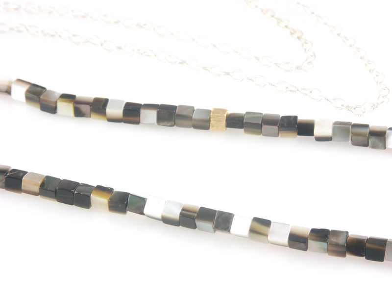 'Pearl Wonder' - silver necklace with brown colour square mother of pearls - product images  of