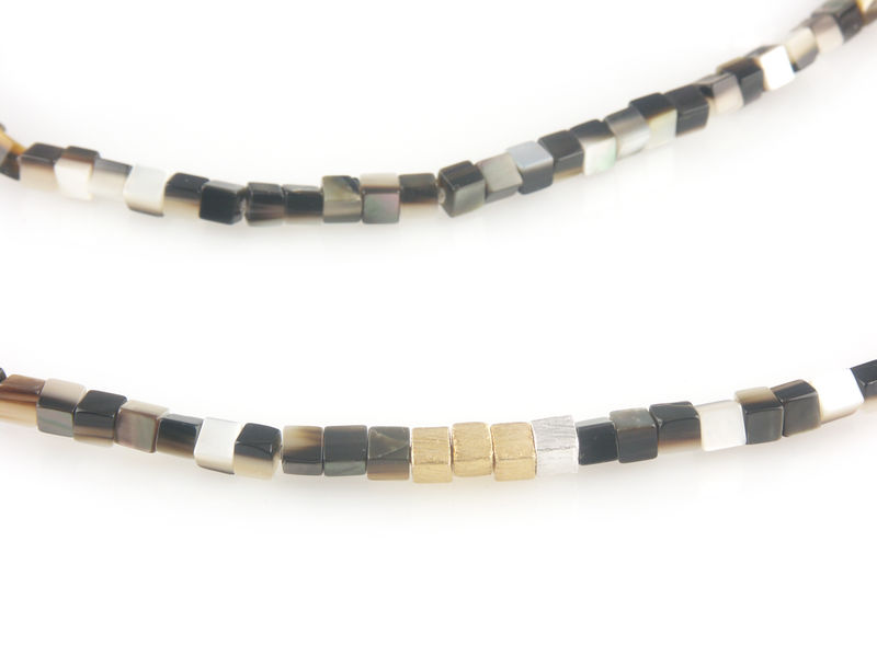 'Pearl Wonder' - brown square mother of pearls necklace - product images  of