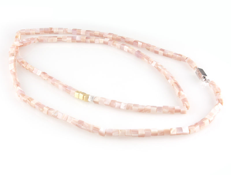 'Pearl Wonder' - pink square mother of pearls necklace - product images  of