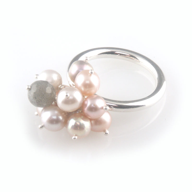 'Pearl Wonder' - pinky pearl cluster silver ring - product images  of