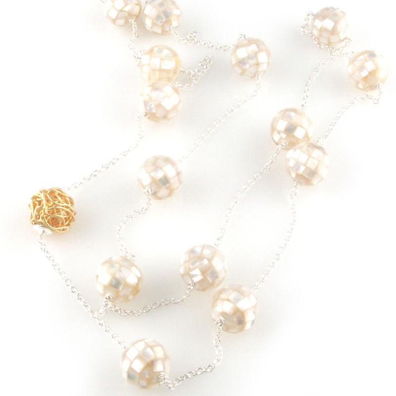 'Pearl Wonder' - silver necklace with round ball mother of pearls and gold wire ball - product images  of