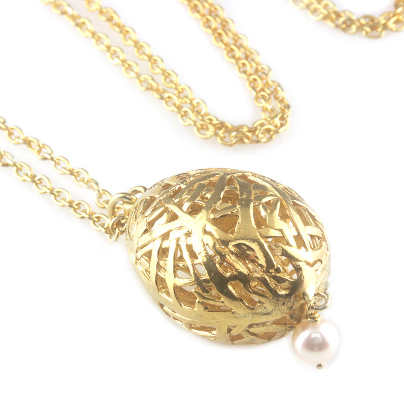 'Best Before' - 3cm gold plated silver whole egg pendant with pearl - product images  of