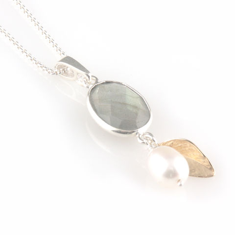 'Pearl,Wonder',-,labradorite,with,pearl,and,gold,leaf,necklace,silver jewellery, contemporary jewellery, necklace, pendant, fresh water pearl pendant, labradorite