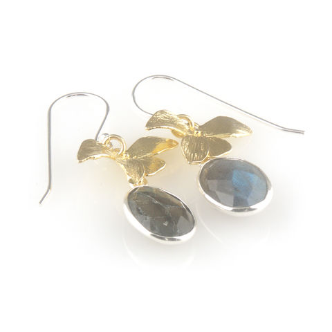 'Wearing,Nature',-,labradorite,earrings,with,gold,leaves,silver jewellery, contemporary jewellery, earrings, labradorite earrings, silver leaf, gold plated silver leaves earrings