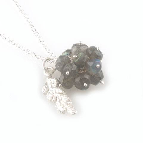 'Wearing,Nature',-,Labradorite,cluster,with,silver,leaf,necklace,silver jewellery, contemporary jewellery, necklace, pendant,  Labradorite cluster, gift, handmade jewellery