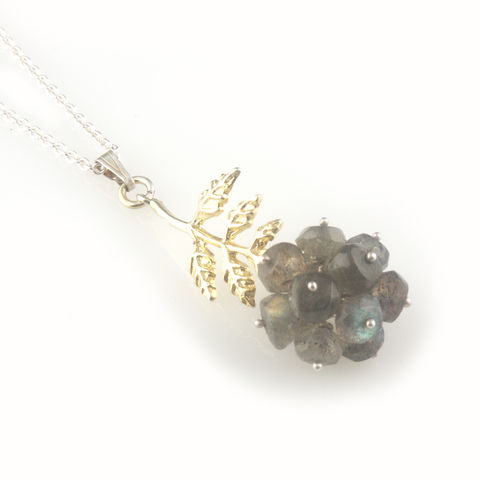 'Wearing,Nature',-,Labradorite,cluster,with,gold,leaf,necklace,silver jewellery, contemporary jewellery, necklace, pendant,  Labradorite cluster, gift, handmade jewellery