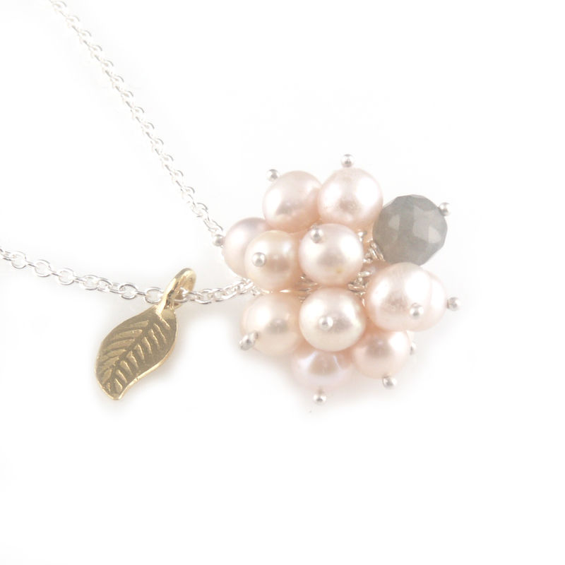 'Pearl Wonder' - pinky pearl cluster silver necklace - product images  of