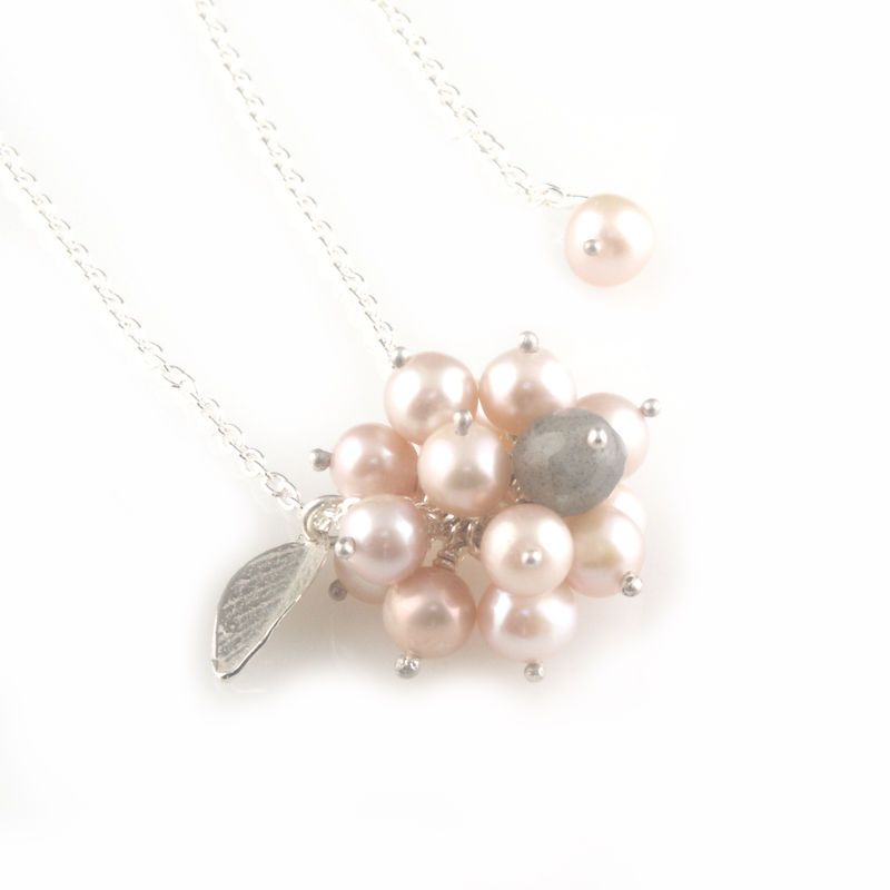 'Pearl Wonder' - pinky pearl cluster necklace with silver leaf  - product images  of