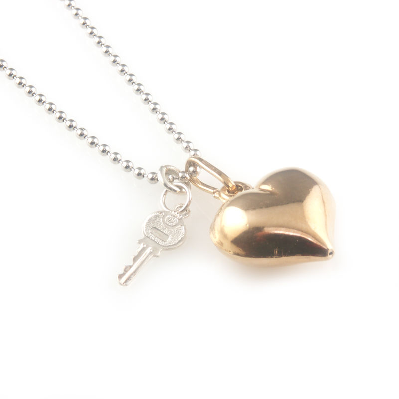 'Key to your heart' - rose gold heart and silver key necklace - product images  of