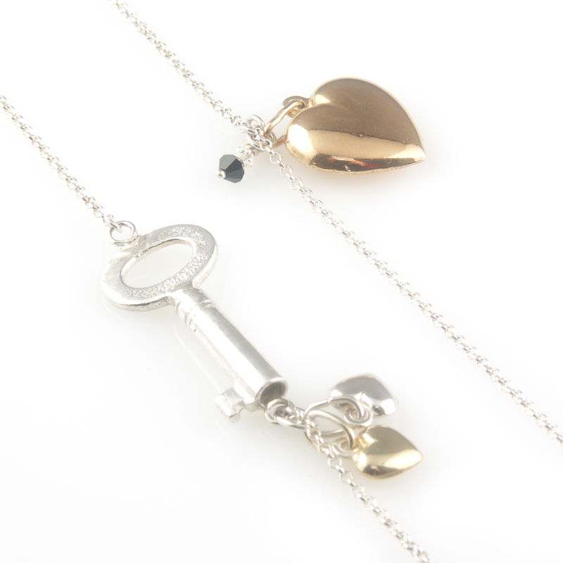 'Key to your heart' - long silver key and hearts necklace - product images  of