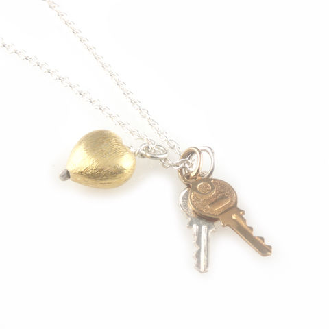 'Key,to,your,heart',-,small,silver,keys,with,gold,heart,necklace,silver jewellery, contemporary jewellery, necklace, pendant, key necklace, key and heart necklace, rose gold key necklace, gift for valentine's