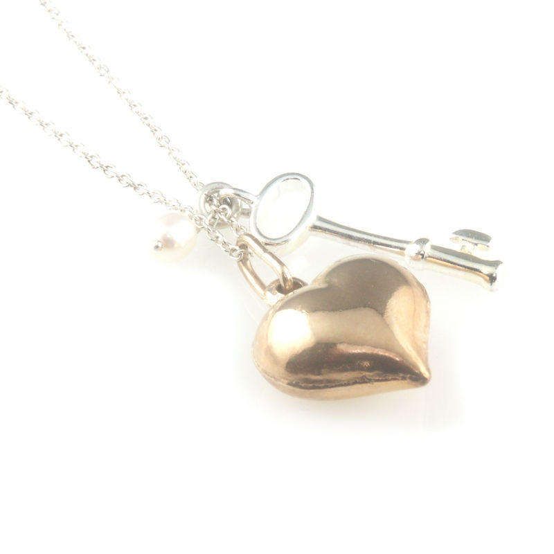 'Key to your heart' - small silver key and pearl with rose gold heart necklace - product images  of