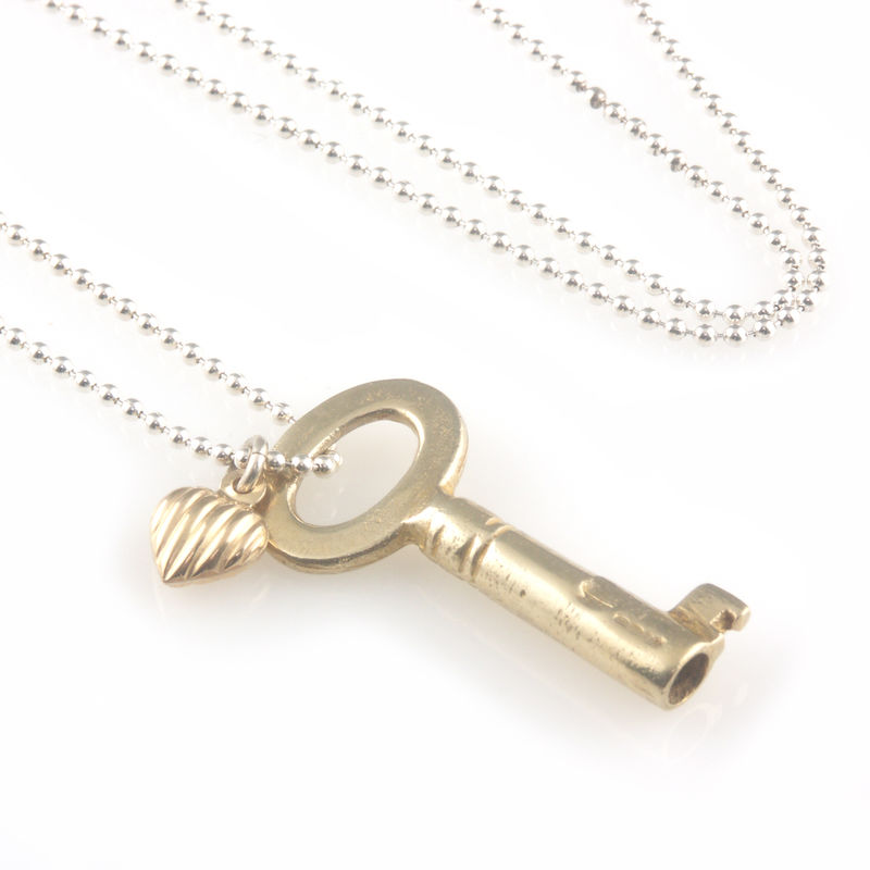 'Key to your heart' - Gold plated silver key and a gold heart necklace - product images  of