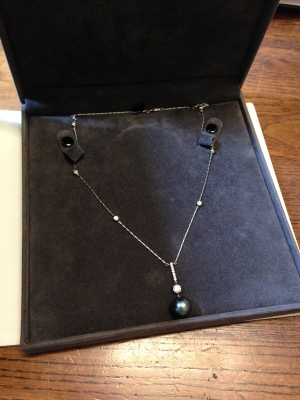 Bespoke  - Tahitian pearl pendant with diamonds - product images  of