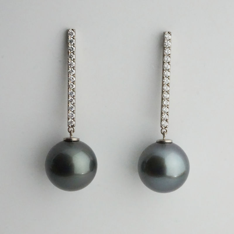 Bespoke  - Tahitian pearl earrings with diamonds - product images  of