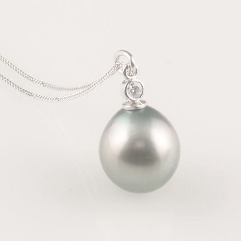 Bespoke  - Grey silver tahitian pearl pendant with diamond - product images  of