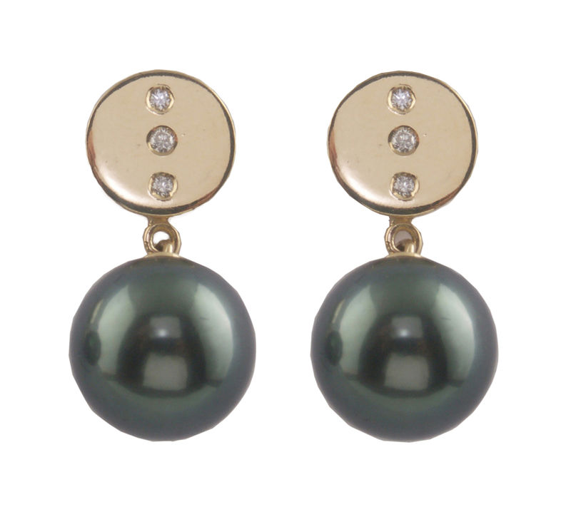 Bespoke  - Yellow gold earrings with diamonds and Tahitian pearls  - product images  of
