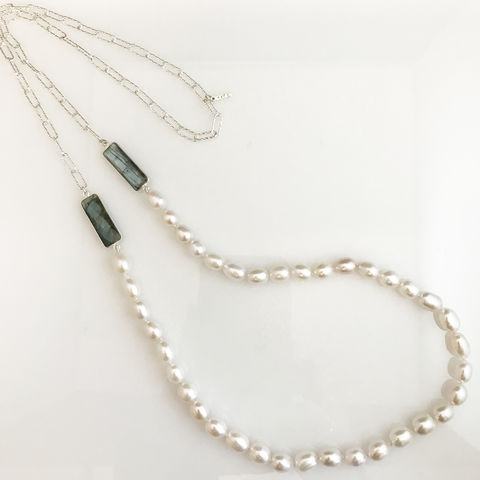 'Pearl,Wonder',-,long,silver,chain,and,pearl,necklace,with,labradorites,silver jewellery, contemporary jewellery, long pearl necklace, pendant, fresh water pearl pendant, labradorite necklace