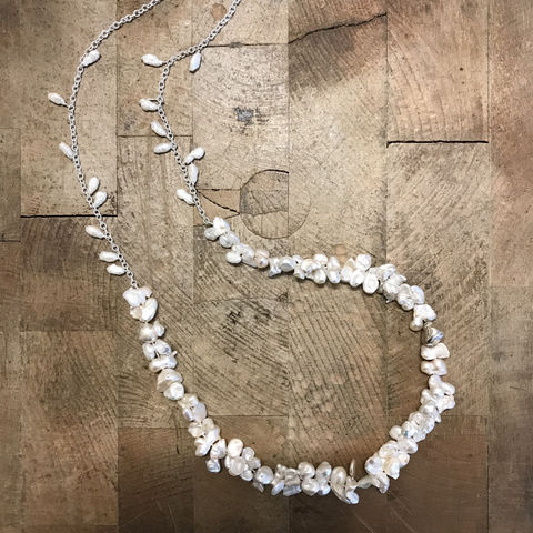 'Pearl,Wonder',-,Long,cluster,baroque,pearl,necklace,Baroque fresh water pearl necklace, silver jewellery, contemporary jewellery, long pearl necklace, fresh water pearl