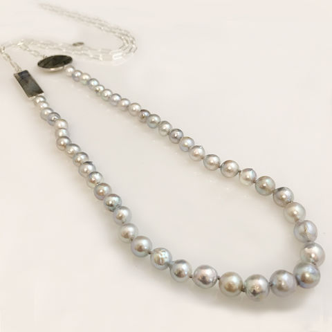 'Pearl,Wonder',-,Baroque,grey,Akoya,pearl,necklace,with,labradorites,Baroque Akoya pearl necklace, silver jewellery, contemporary jewellery, long pearl necklace, pendant, fresh water pearl pendant, labradorite necklace