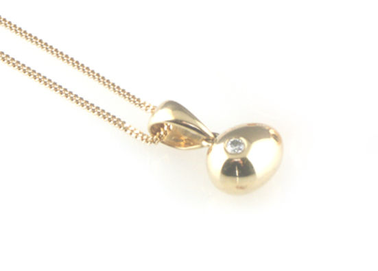 'Best Before' - 0.8cm 18ct yellow gold egg pendant with diamond - product images  of