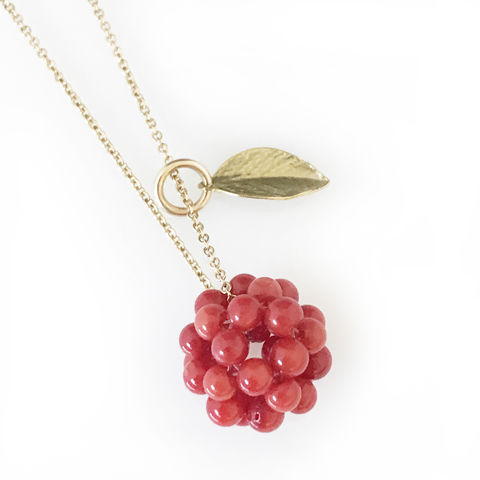 'Wearing,Nature',-,14ct,gold,filled,chain,with,the,cluster,of,coral,and,leaf.,24ct gold filled jewellery, contemporary jewellery, necklace, pendant, coral, gift, coral cluster
