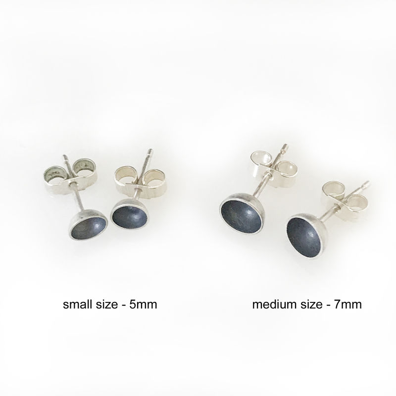 'Special Offer' - black oxidized silver small size round bowl earrings - product images  of