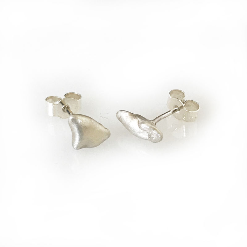 'Special Offer' - Silver stone shaped ear studs (one off piece)  - product images  of