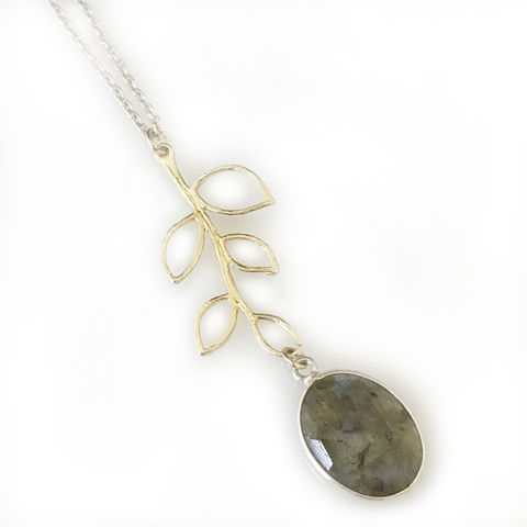 'Wearing,Nature',-,labradorite,necklace,with,gold,plated,silver,leaf,silver jewellery, contemporary jewellery, necklace, pendant, labradorite necklace, silver leaf, gold plated silver leaf necklace