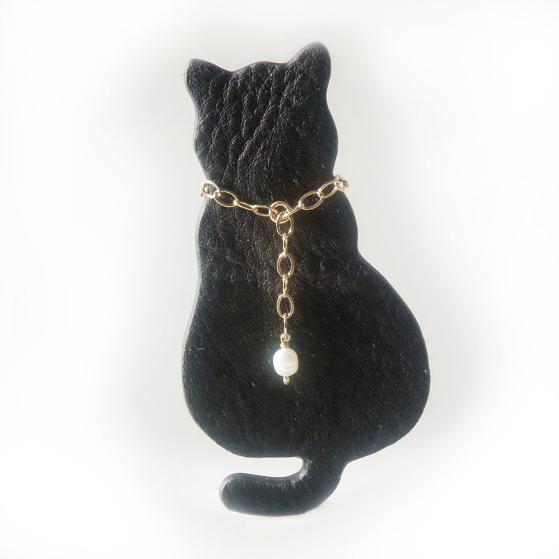 'Special Offer' - Black leather cat brooch with big gold filled chain and pearl - product images  of