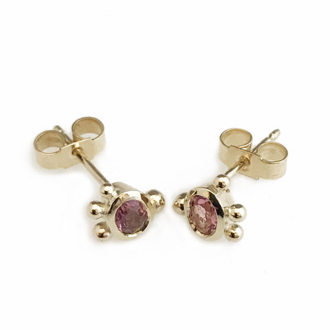 'Bespoke',-,yellow,gold,pink,tourmaline,ear,studs,gold jewellery, contemporary jewellery, bridal jewellery, wedding, earrings, ear studs, pink tourmaline, 9ct yellow gold