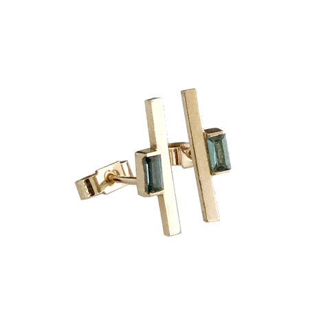 'Bespoke',-,yellow,gold,blue,tourmaline,ear,studs,gold jewellery, contemporary jewellery, bridal jewellery, wedding, earrings, ear studs, blue tourmaline, 9ct yellow gold