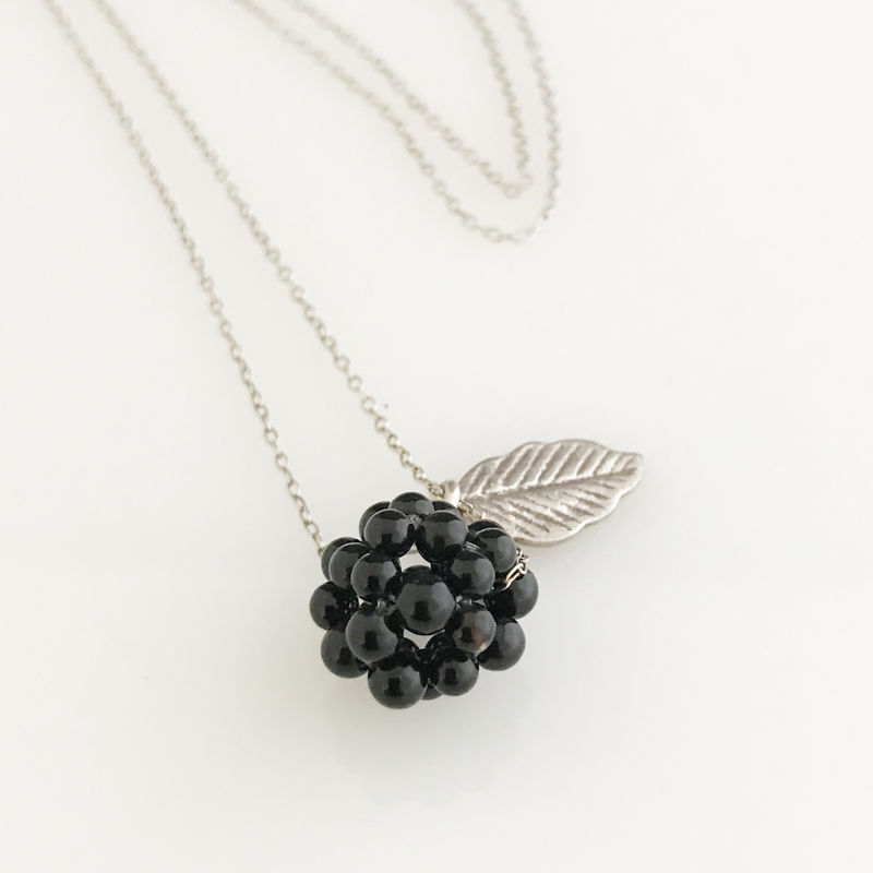 'Wearing Nature' - Onyx cluster with silver leaf necklace - product images  of
