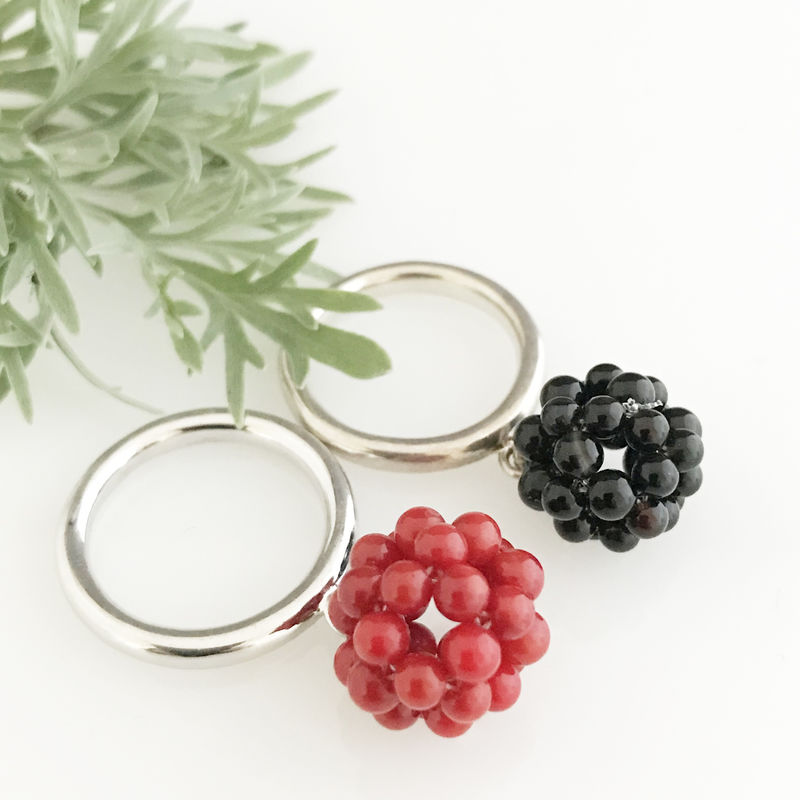 'Wearing Nature' - Silver ring with the cluster of coral - product images  of
