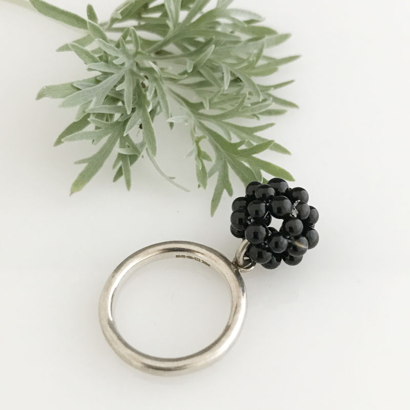 'Wearing Nature' - Silver ring with the cluster of onyx - product images  of