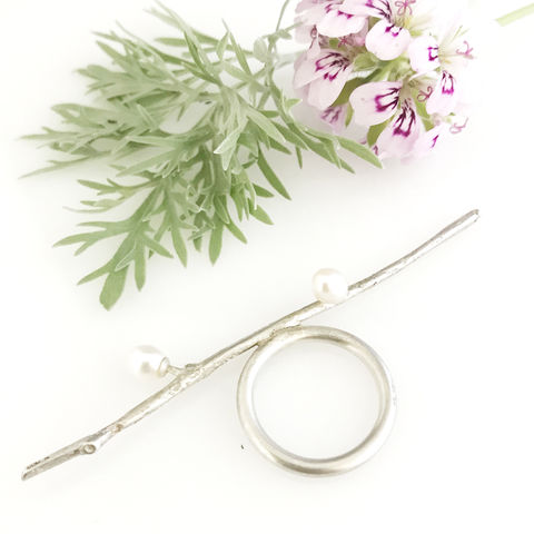 'Wearing,Nature',-,Silver,Twig,ring,with,pearls,silver jewellery, contemporary jewellery, ring,  twigs,  pearl, gift, handmade jewellery, silver twig ring