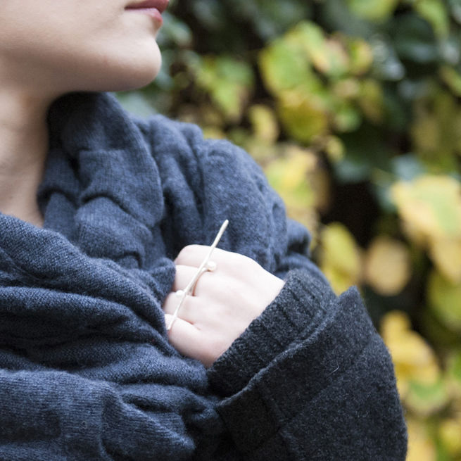 'Wearing Nature' - Silver Twig ring with pearls - product images  of