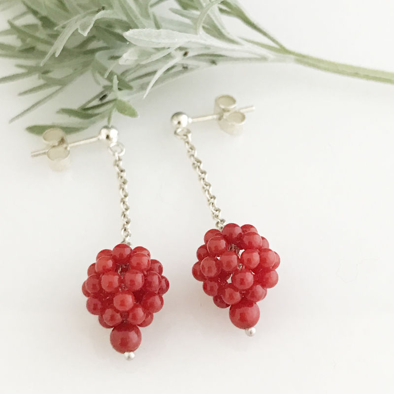 'Wearing Nature' - Silver earrings with coral cluster drops - product images  of