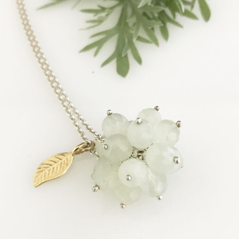 'Wearing Nature' - green quartz cluster with gold leaf necklace - product images  of