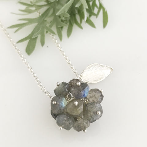 'Wearing,Nature',-,Labradorite,cluster,with,silver,leaf,necklace,silver jewellery, contemporary jewellery, necklace, pendant,  Labradorite cluster, gift, handmade jewellery, labradorite