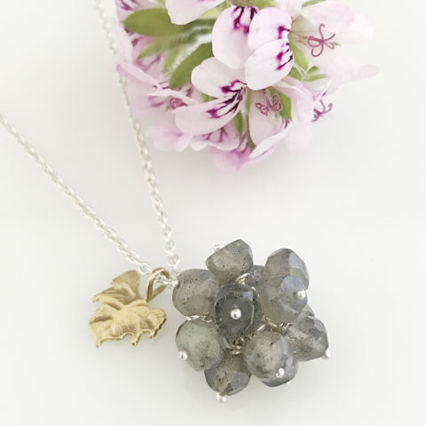 'Wearing,Nature',-,Labradorite,cluster,with,gold,leaf,necklace,silver jewellery, contemporary jewellery, necklace, pendant,  Labradorite cluster, gift, handmade jewellery, labradorite
