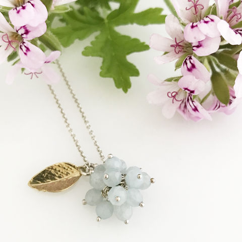 'Wearing,Nature',-,Light,blue,aquamarine,cluster,with,gold,leaf,necklace,silver jewellery, contemporary jewellery, necklace, pendant, aquamarine, wearing nature, nature, nature jewellery, handmade