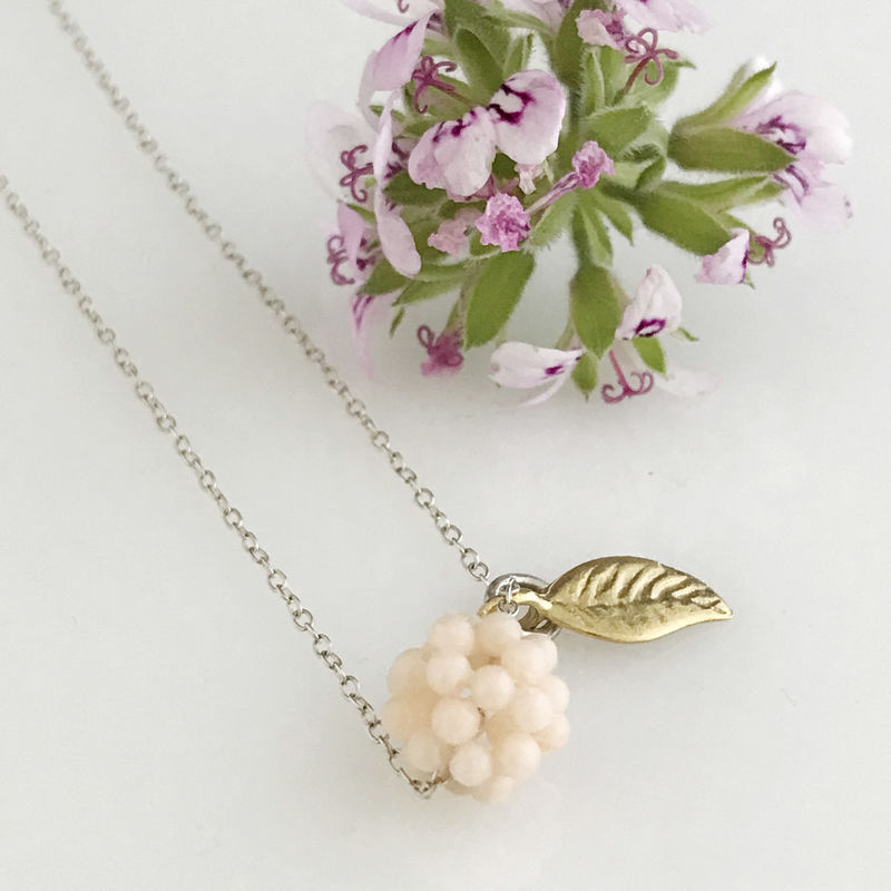 'Wearing Nature' - Pink Coral cluster with gold leaf necklace - product images  of