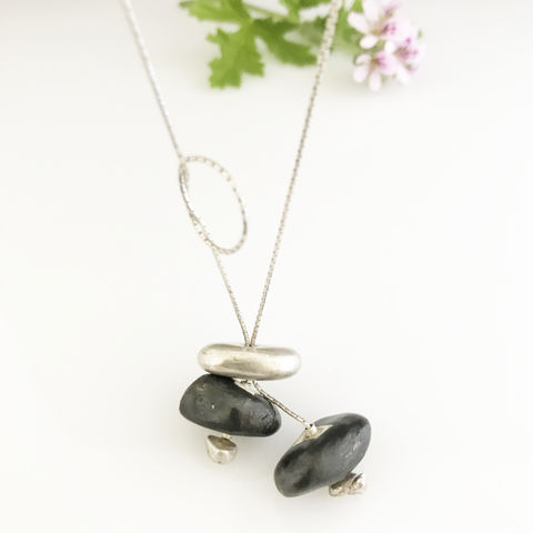 'Special,Offer',-,Silver,necklace,with,silver,and,black,porcelain,stone,shaped,components,silver jewellery, contemporary jewellery, necklace, porcelain necklace, silver and porcelain penant, handmade jewellery, porcelain jewellery