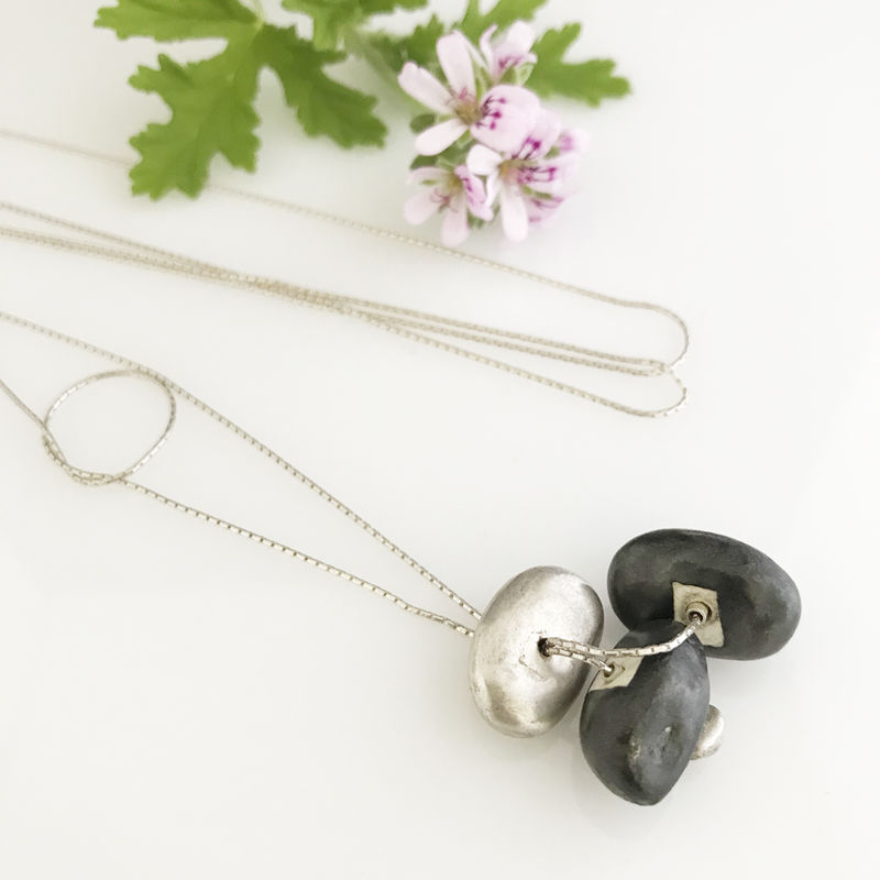 'Special Offer' - Silver necklace with silver and black porcelain stone shaped components  - product images  of