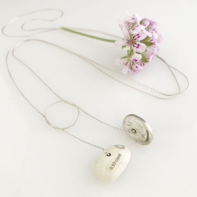 'Special Offer' - Silver necklace with silver and white porcelain stone shaped components  - product images  of